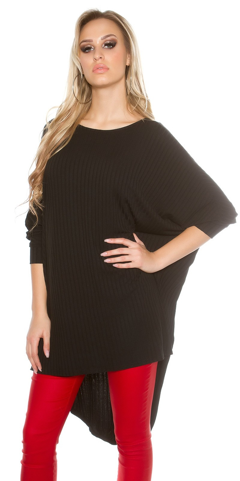 Trendy HighLow Oversize Long-shirt Zwart