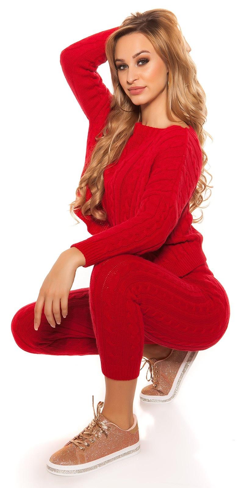 Trendy ruw-grofgebreid huispak (set trui & broek!) rood