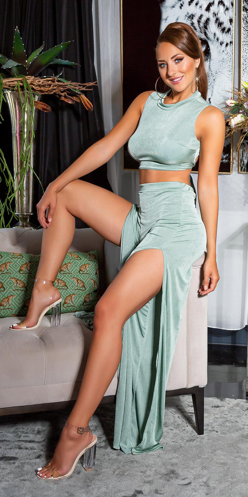 Sexy 2 piece-set crop-top + hoge taille broek groen
