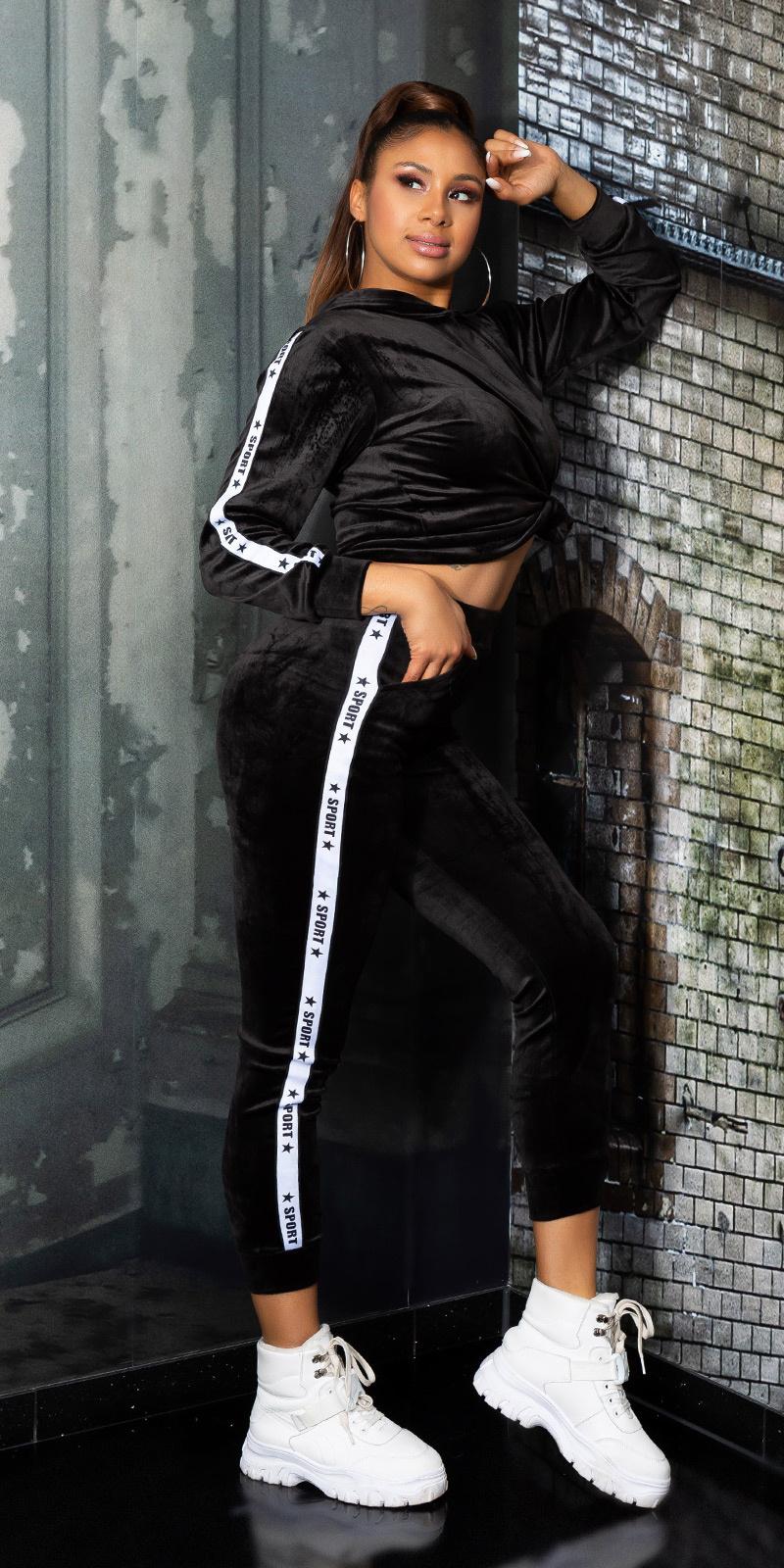 Trendy fluweel sweatsuit hoodie + joggingbroek zwart