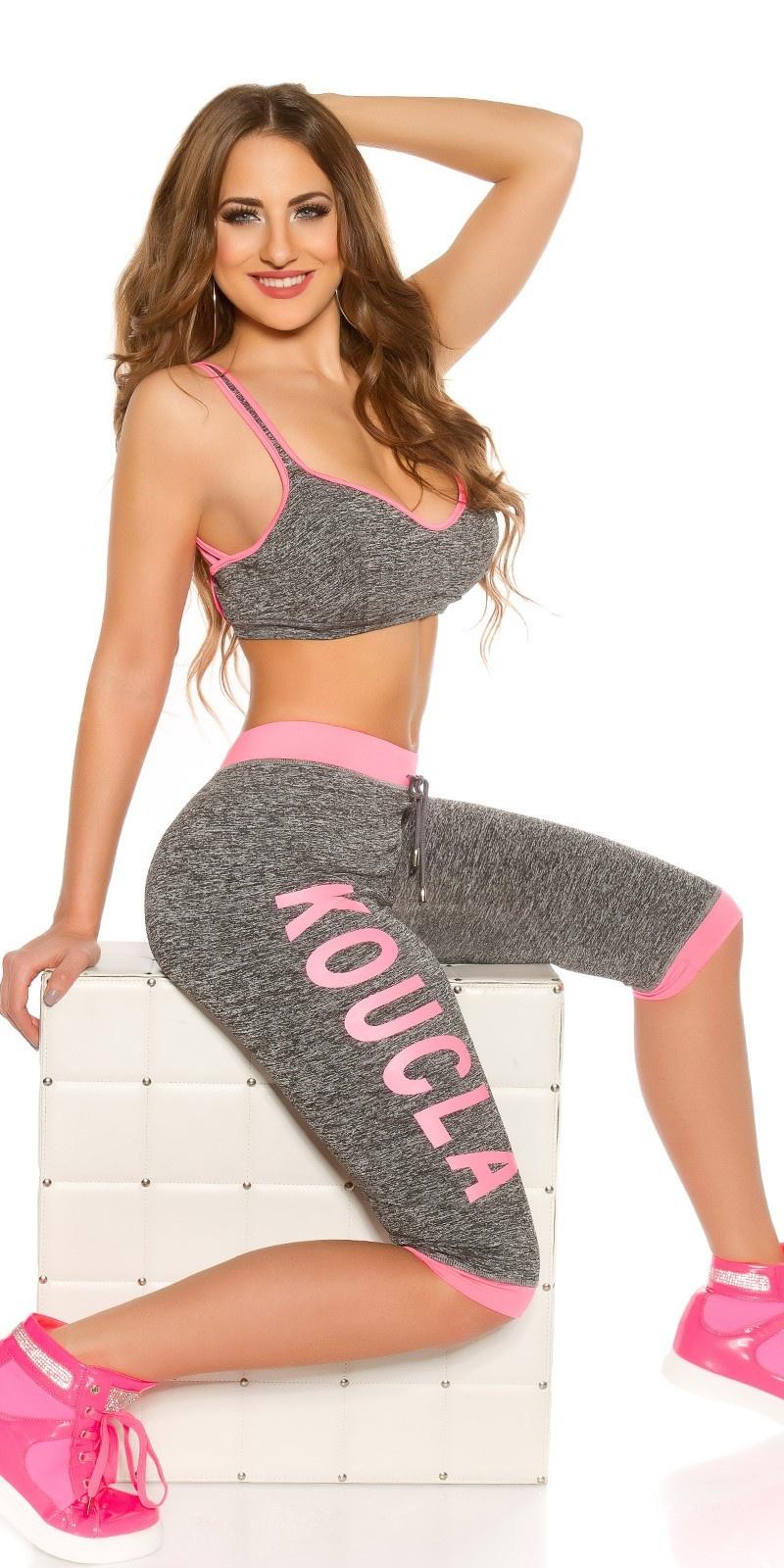 Trendy workout-sport outfit neonfuchsiaroze