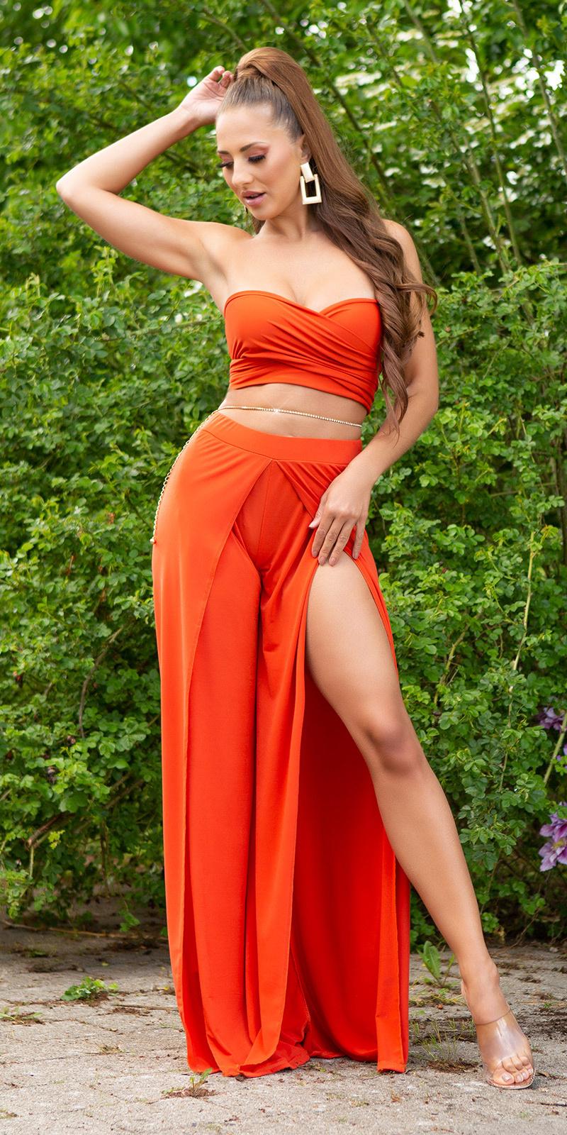 Sexy zomer set- open broek + bandeau top oranje