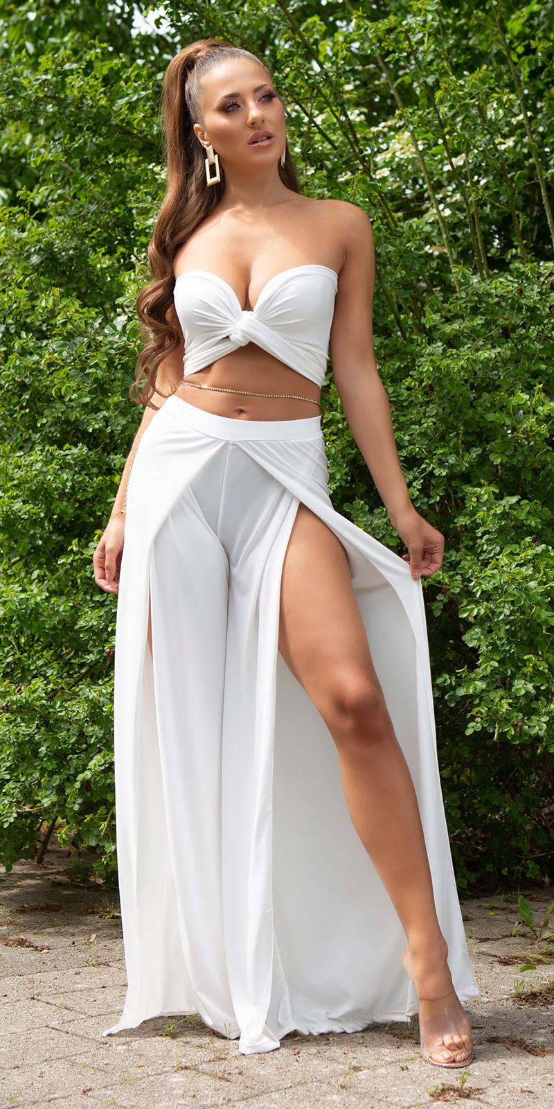 Sexy zomer set- open broek + bandeau top wit