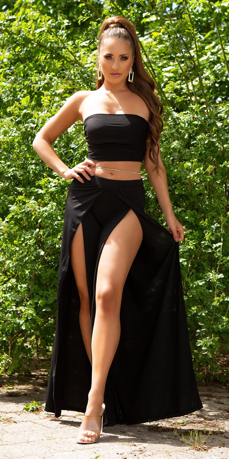 Sexy zomer set- open broek + bandeau top zwart