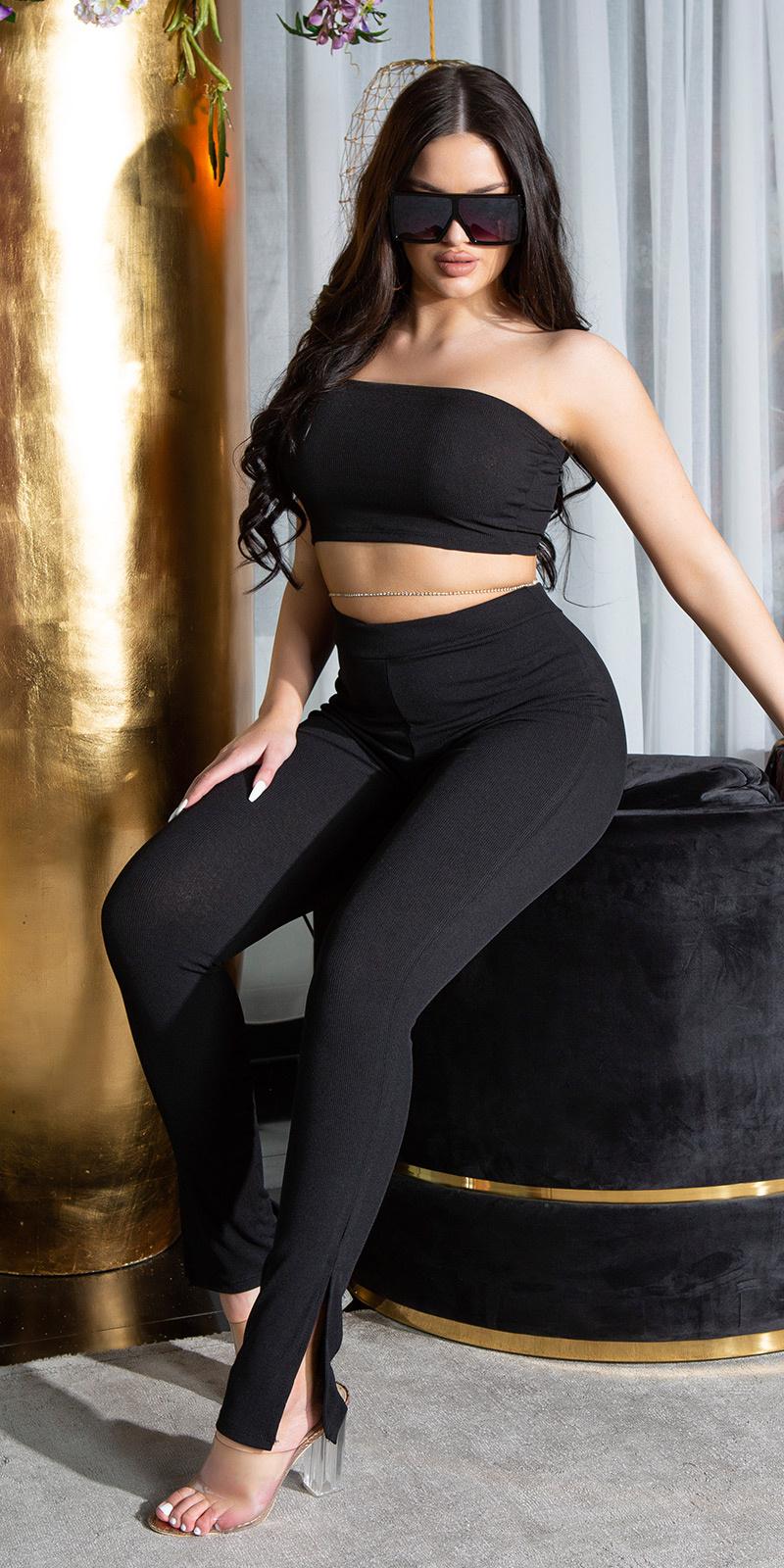 Sexy 2 piece set- bandeau top en broek zwart