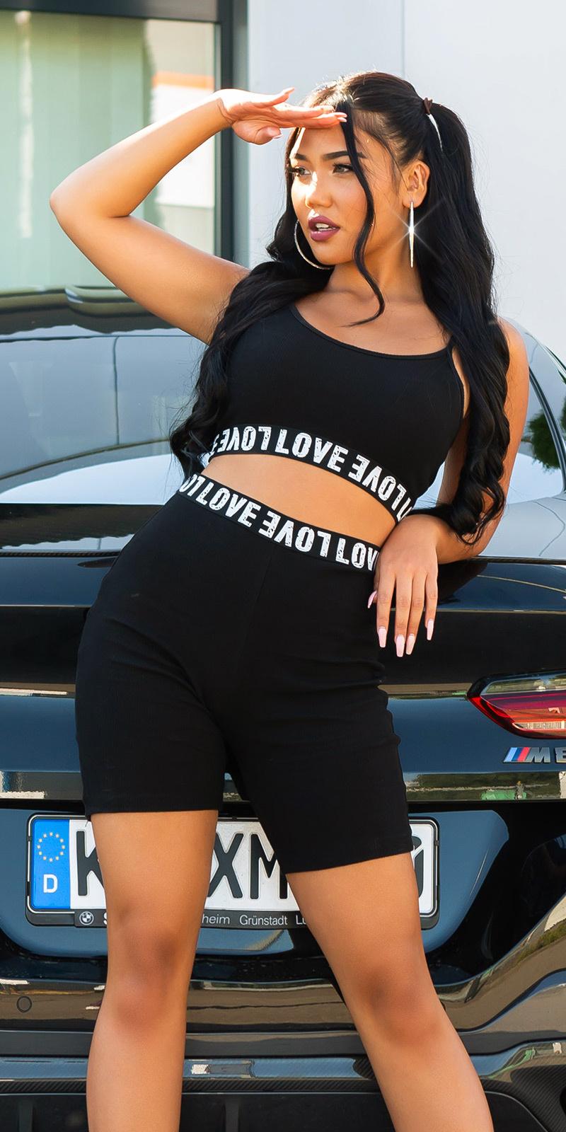 Sexy 2 piece sporty set love zwart