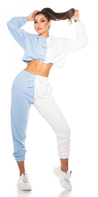 Sexy Sport/ Lounge Set Sweatpants+ Cropped Hoddie Blue
