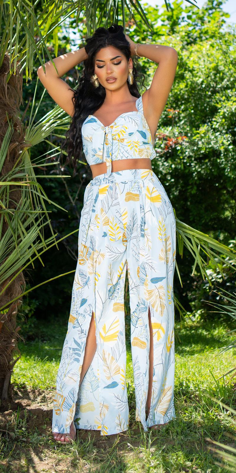 Sexy zomer set- broek met split en bustier top blauw