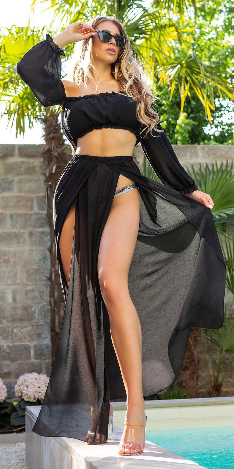 Sexy set-chifon maxi rok+off-shoulder latina top zwart