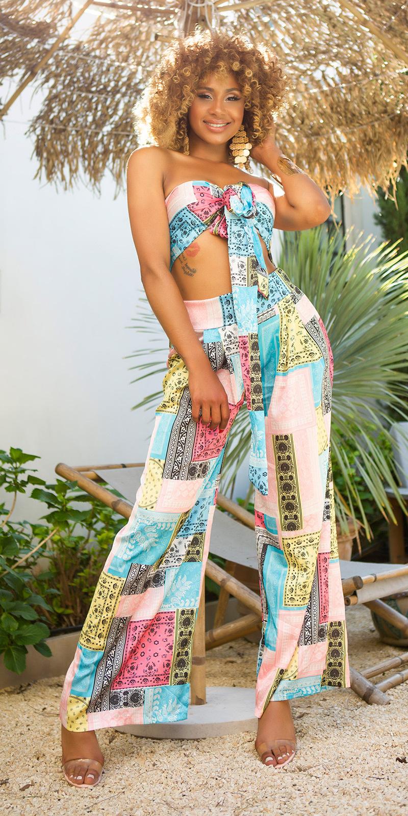 Sexy luxury set- wide broek + bandeau top turkoois-kleurig