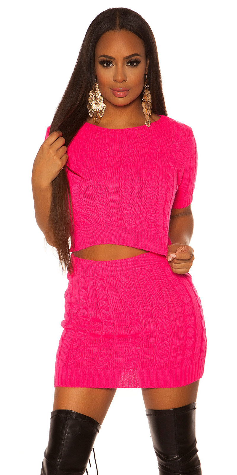 Sexy set chunky short sleeve sweater and skirt Fuchsia