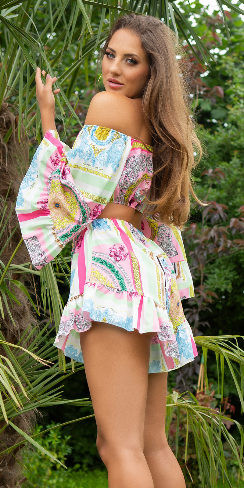 Sexy zomer set- crop top en shorts roze