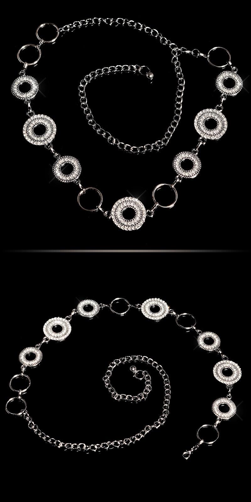 Trendy chain belt with rhinestones Silver