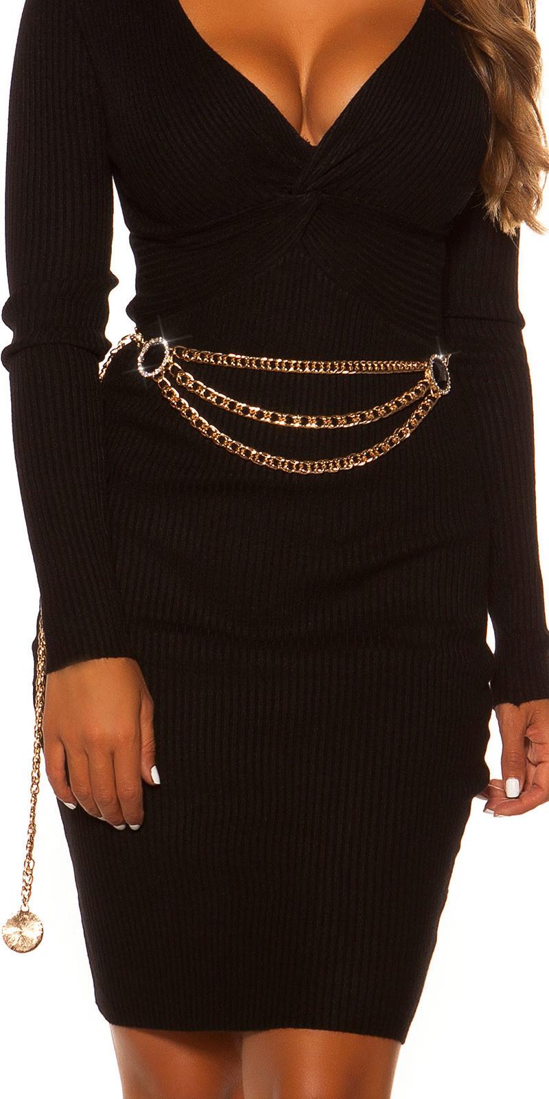 Trendy ketting riem met strass steentjes goud