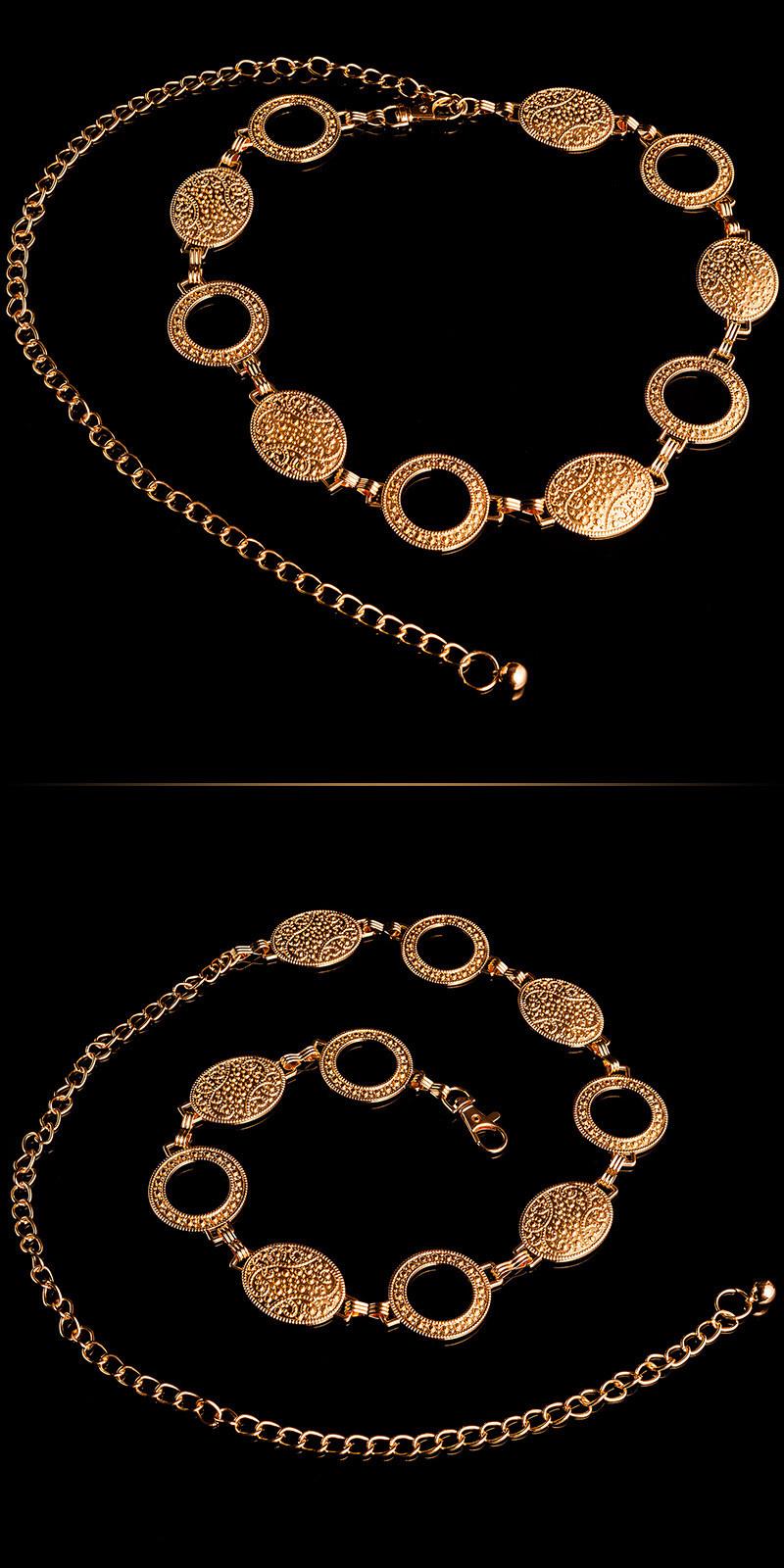 Trendy ketting riem antique look goud