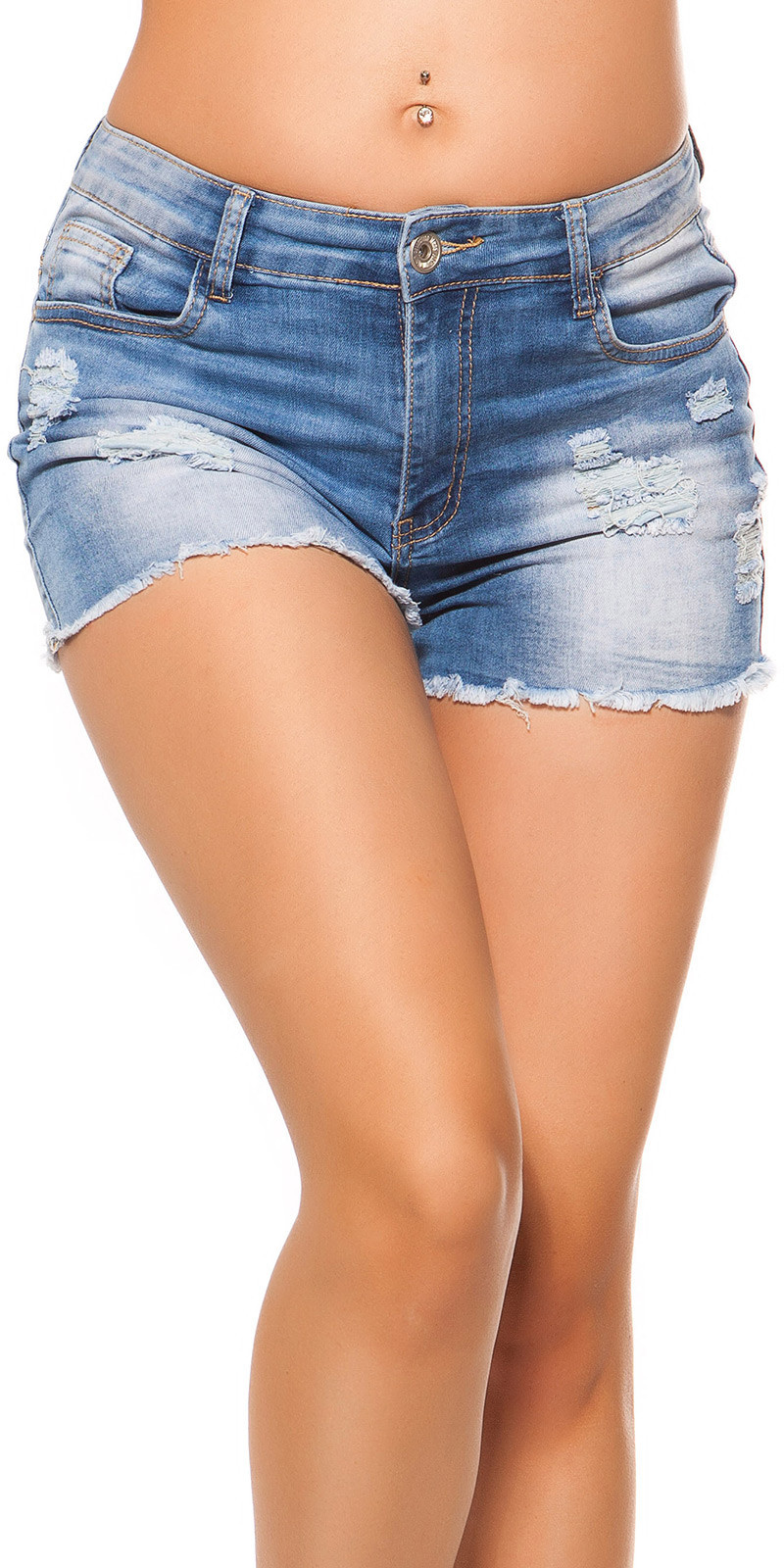 Sexy hoge taille jeans shorts jeansblauw
