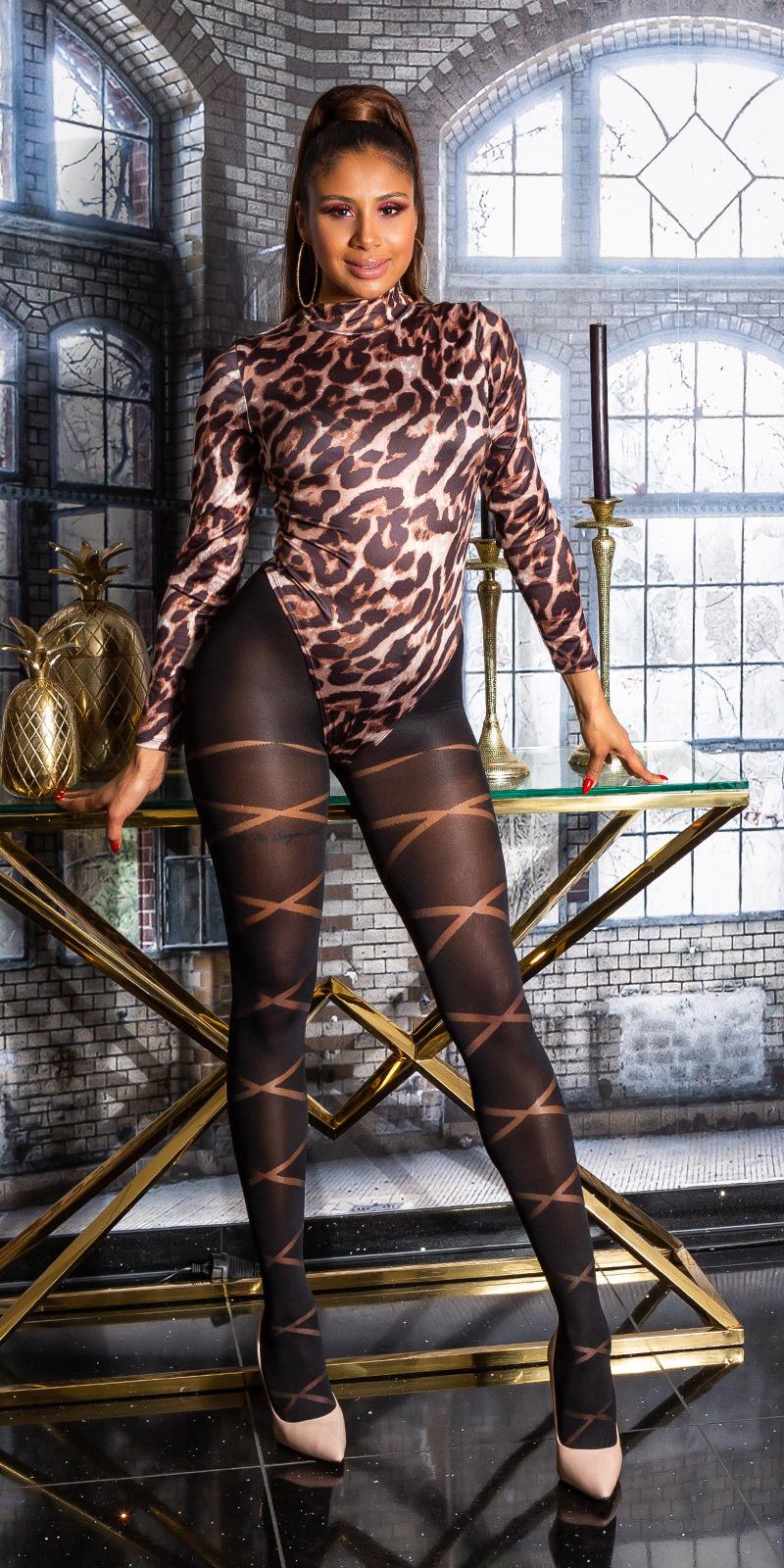 Trendy panty reversed strepen zwart