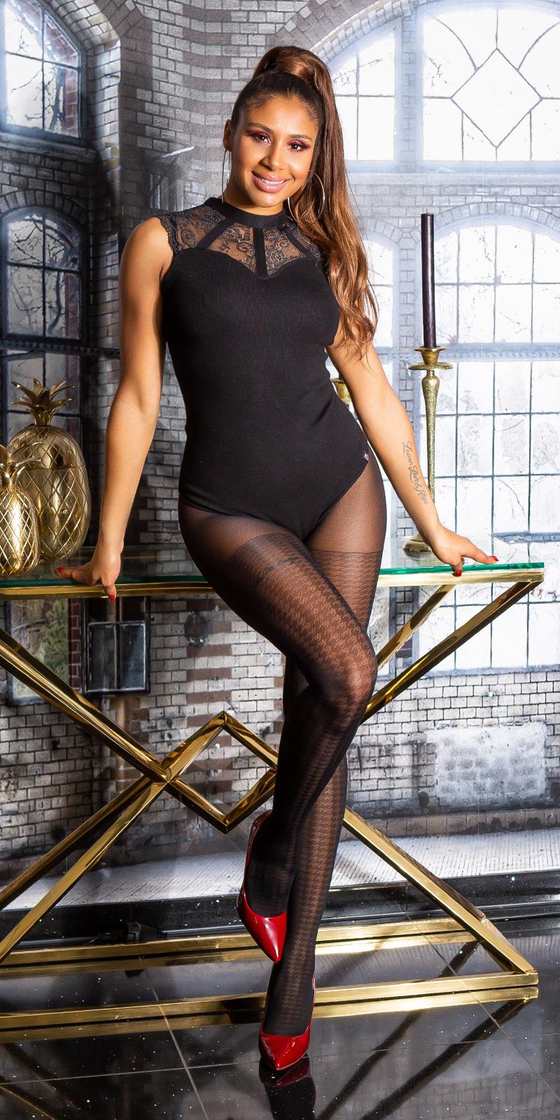Trendy panty fijn pied-de-poule patroon zwart