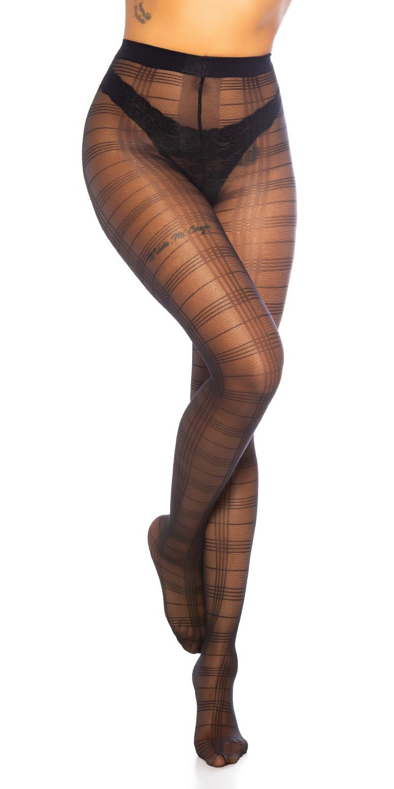 Trendy ruiten panty zwart