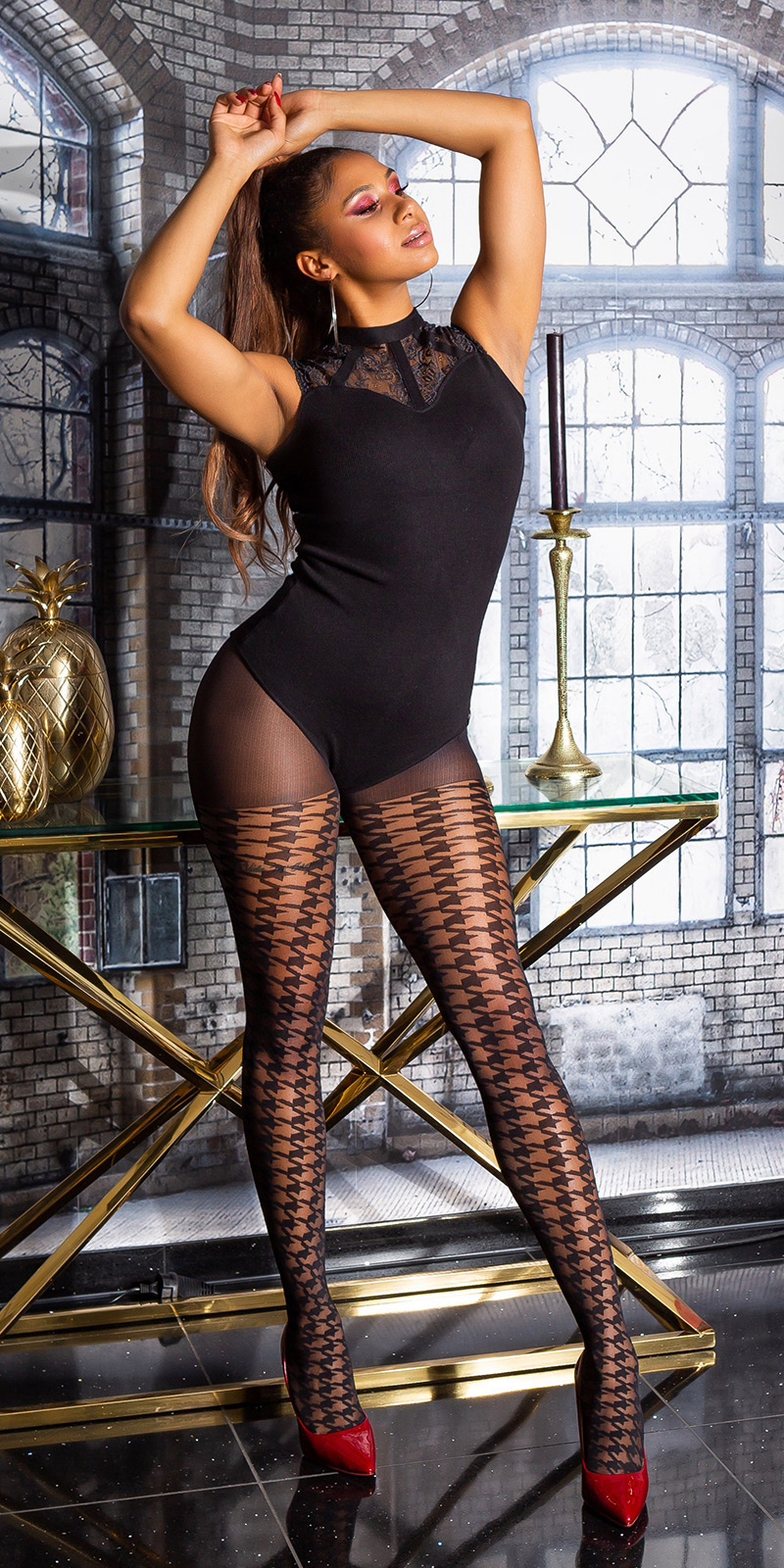 Trendy pied-de-poule patroon panty zwart
