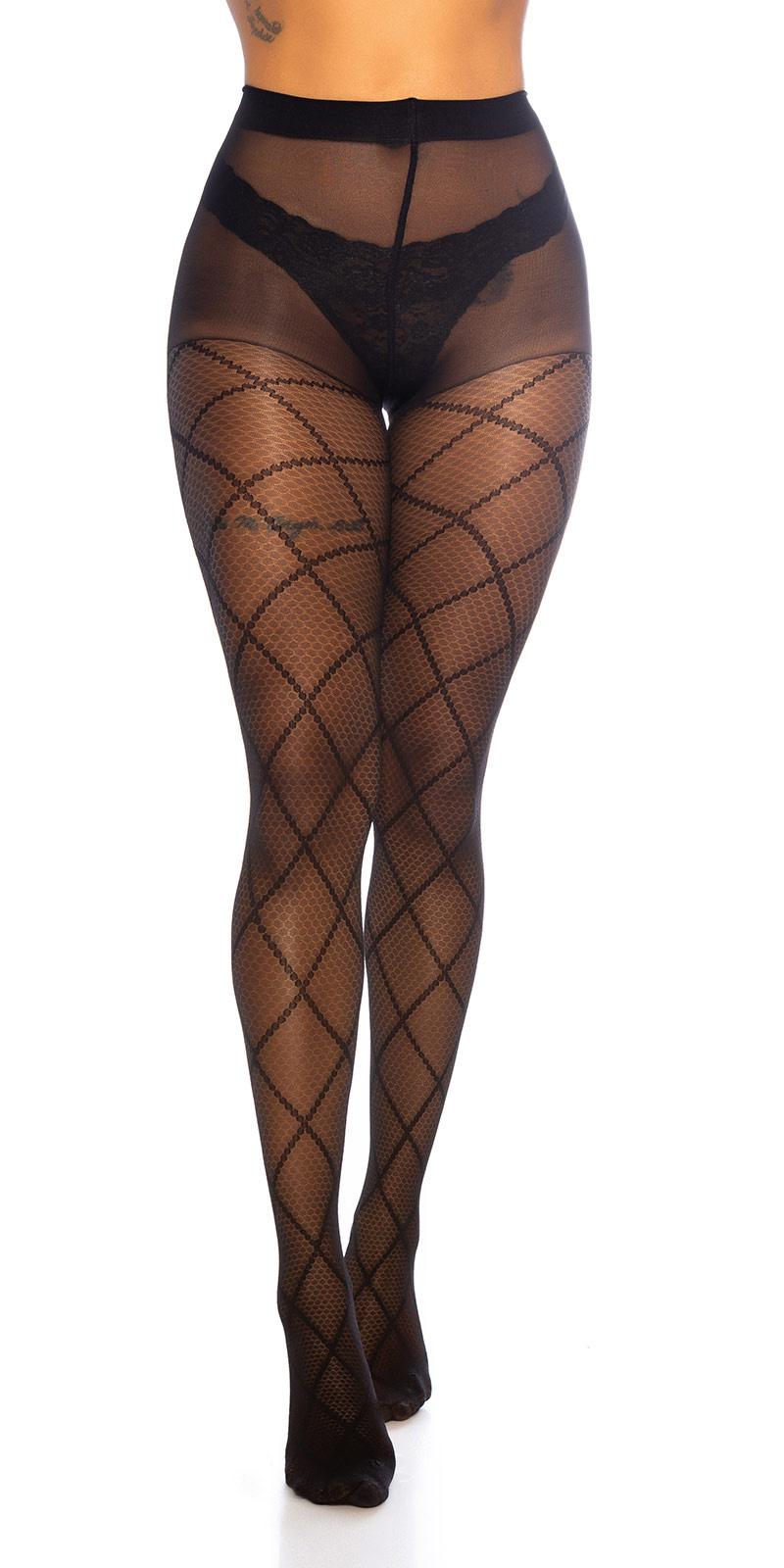 Trendy panty met diamond patroon zwart