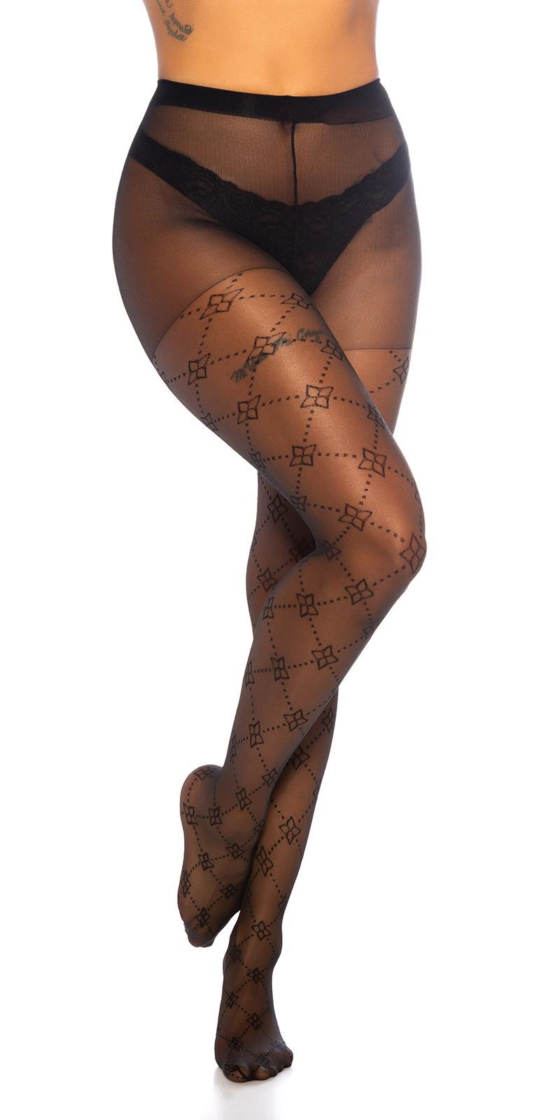 Trendy panty met bloemen patroon zwart