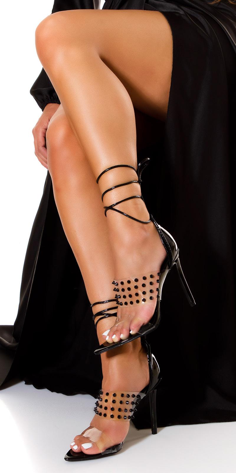 Sexy doorzichtig hoge hakken met spikes zwart