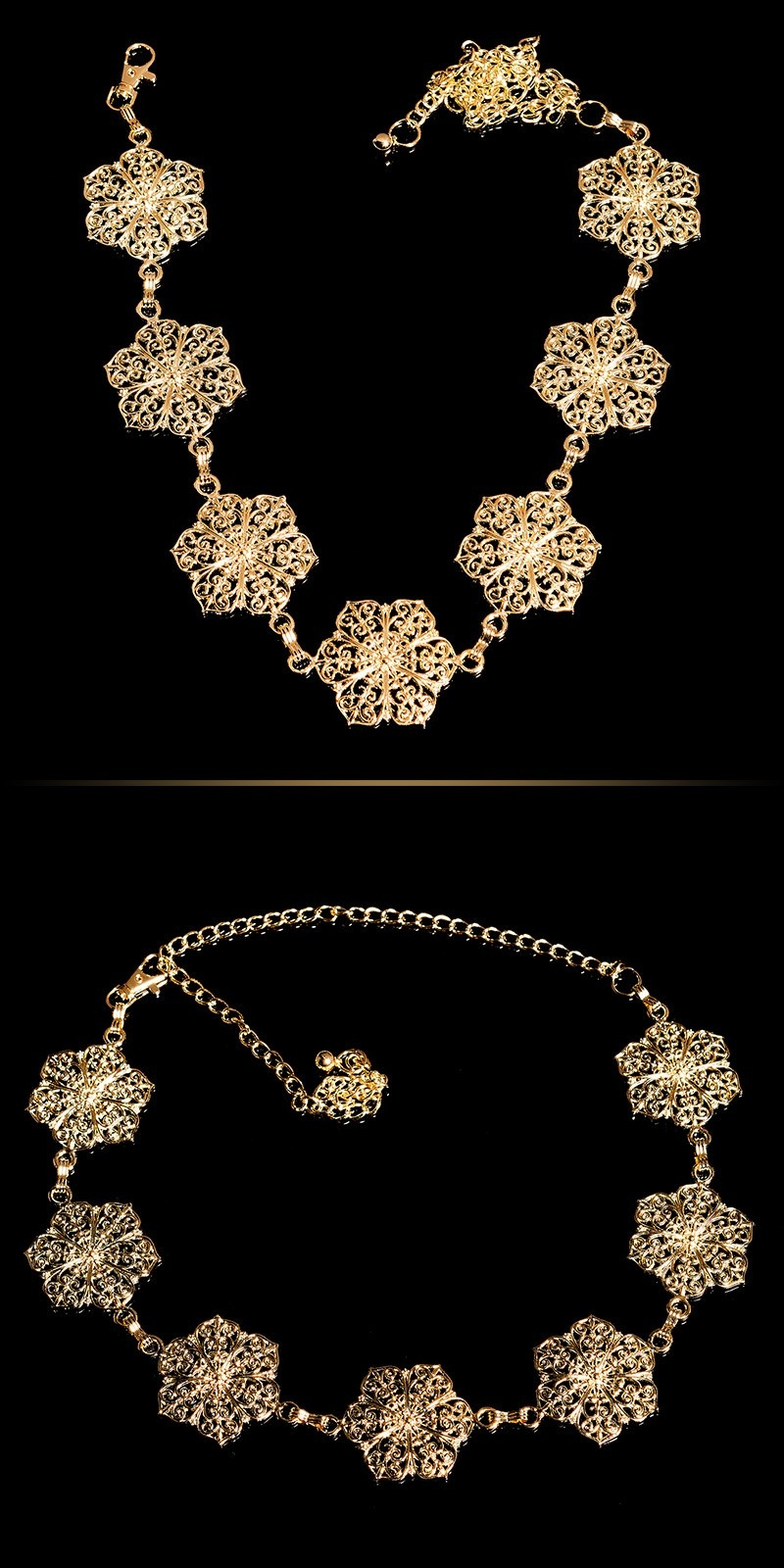 Trendy chain belt flower look elements Gold