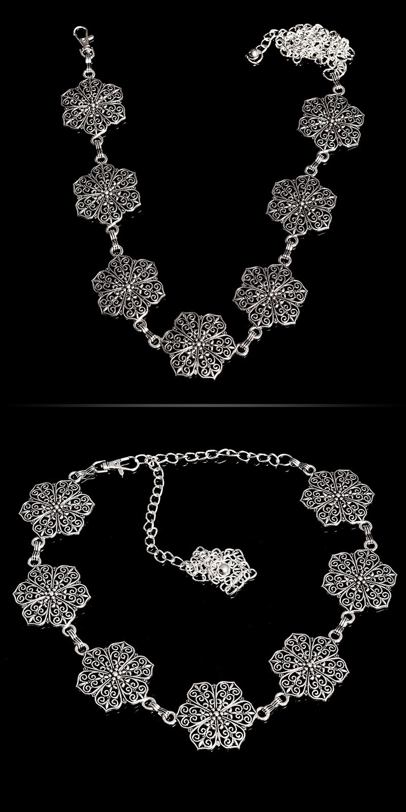 Trendy chain belt flower look elements Silver