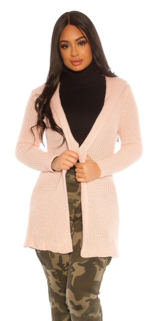 Trendy KouCla Grob rough knit cardigan Pink