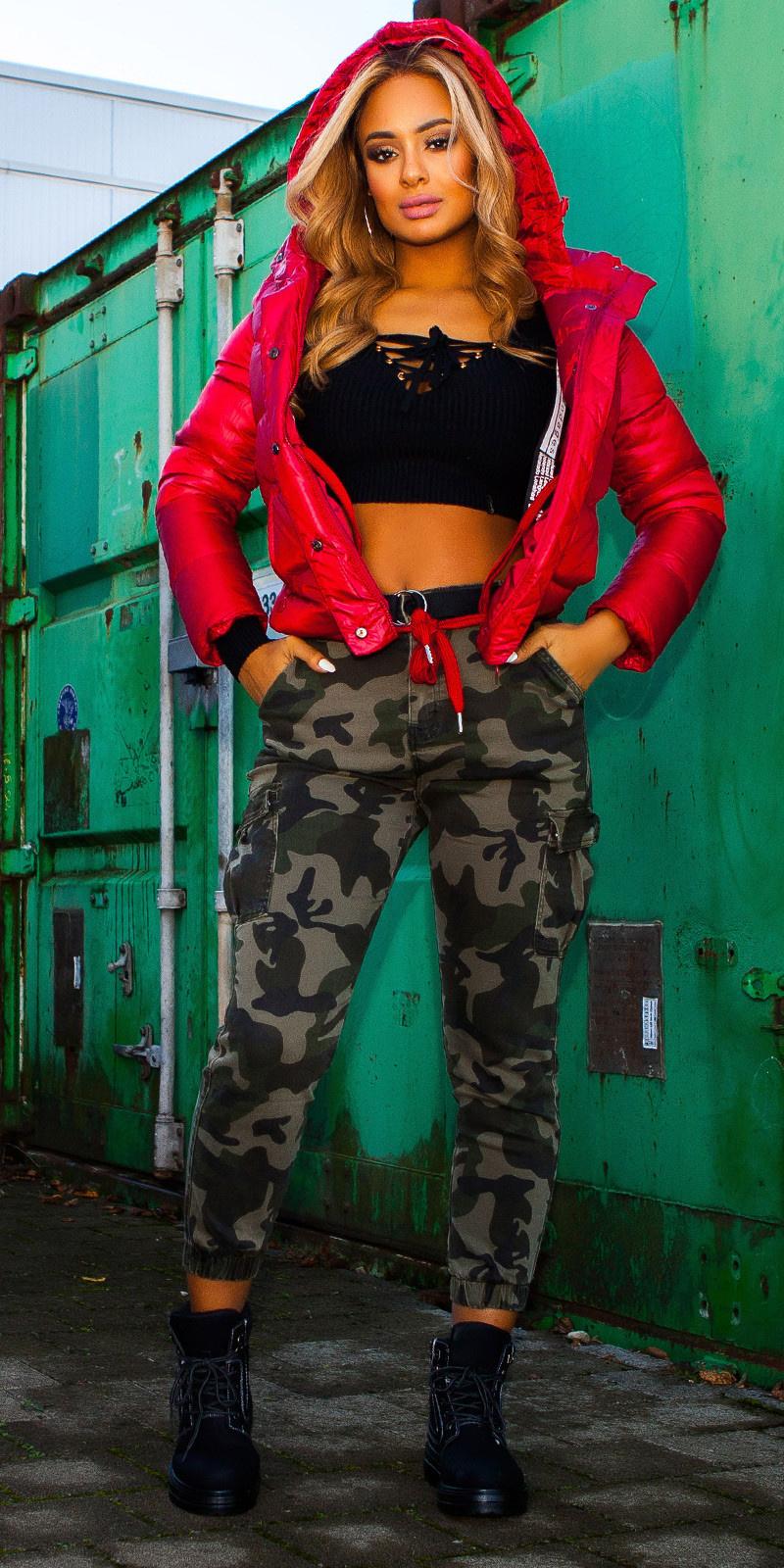 Trendy cargo jeans camouflage met riem leger