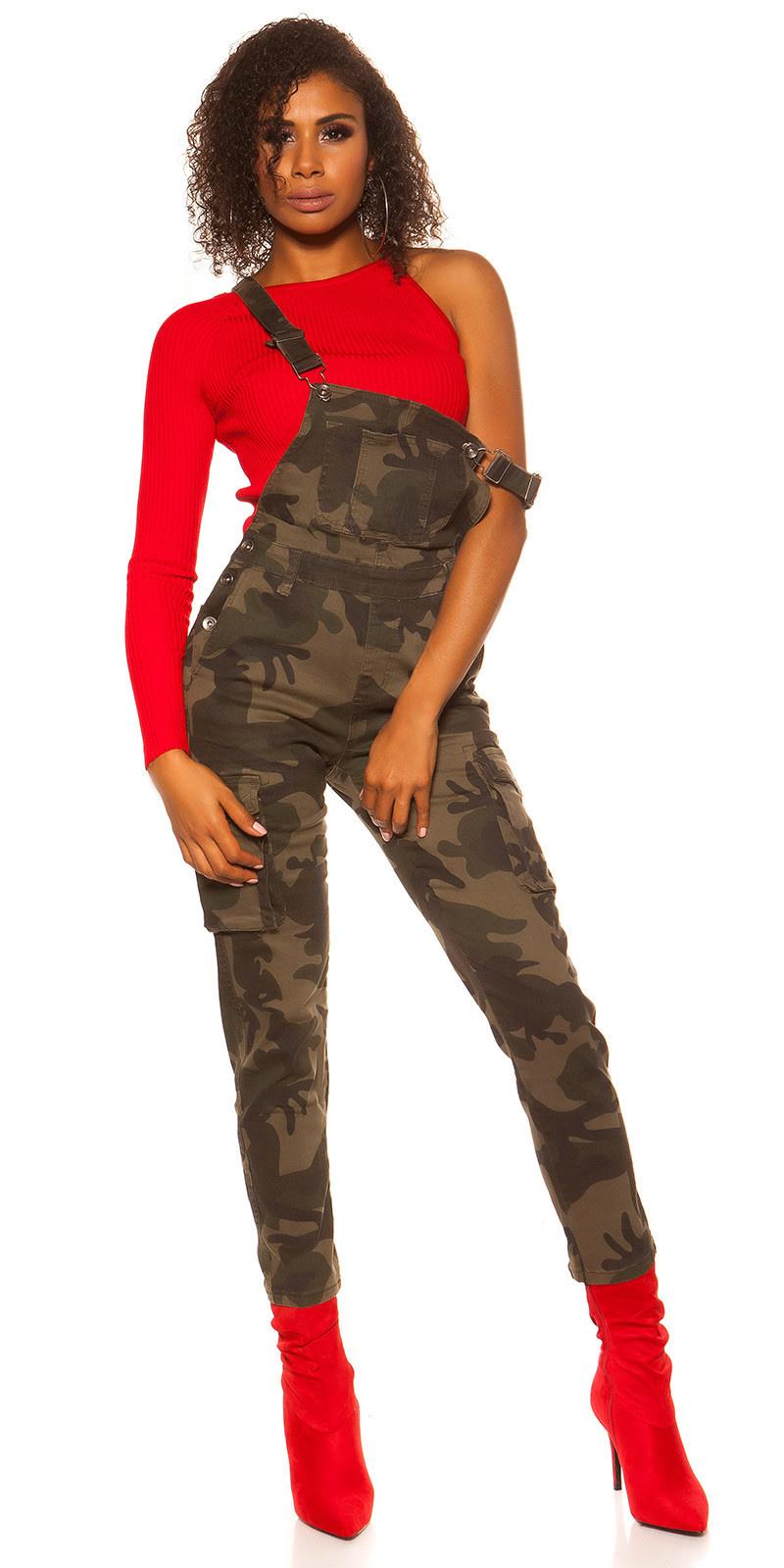 Trendy cargo tuinbroek camouflage leger
