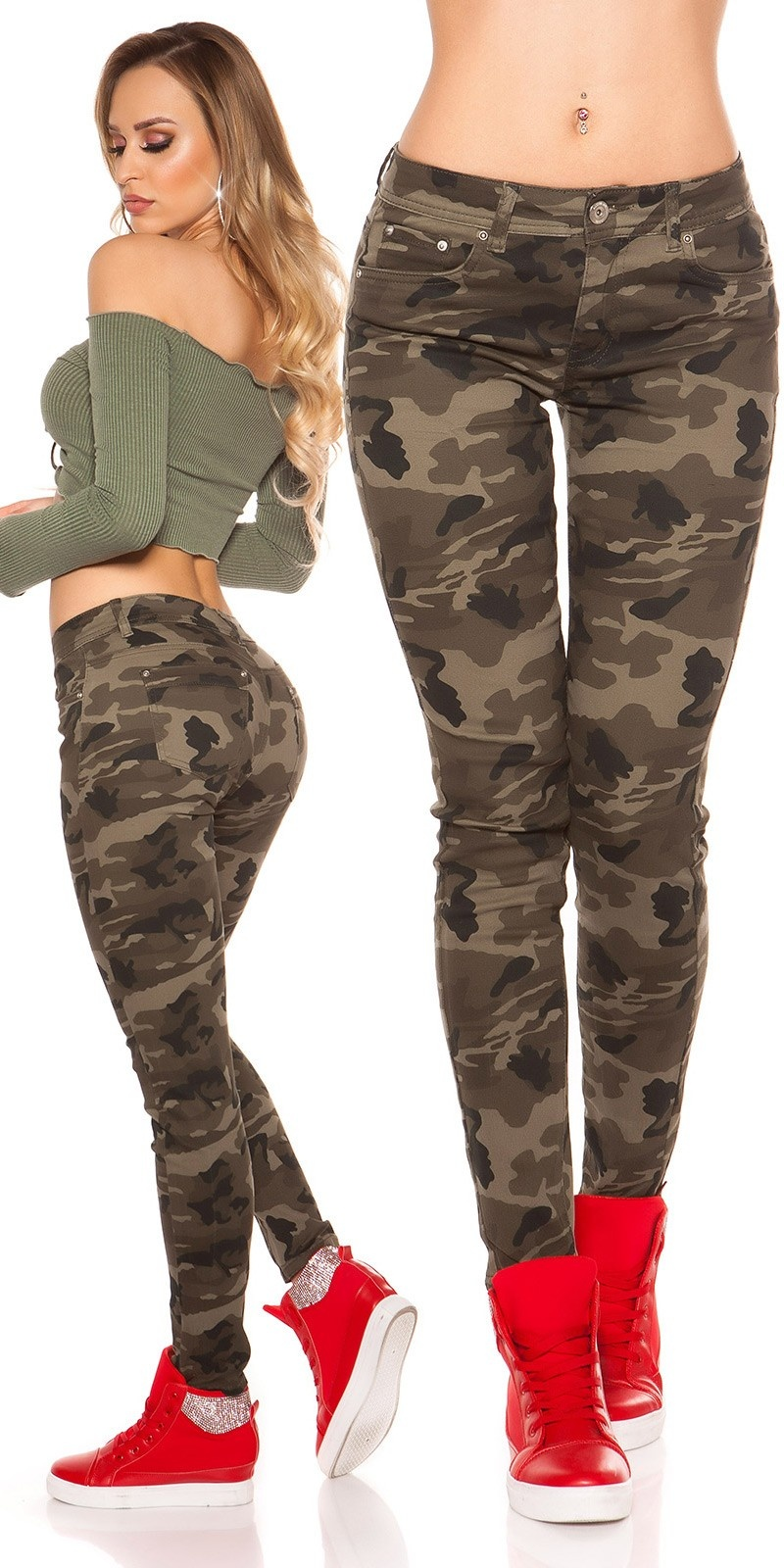 Trendy Camouflage Jeans Army