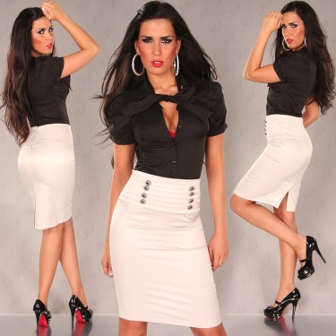 Sexy Pencil-Skirt in Business-Look Beige