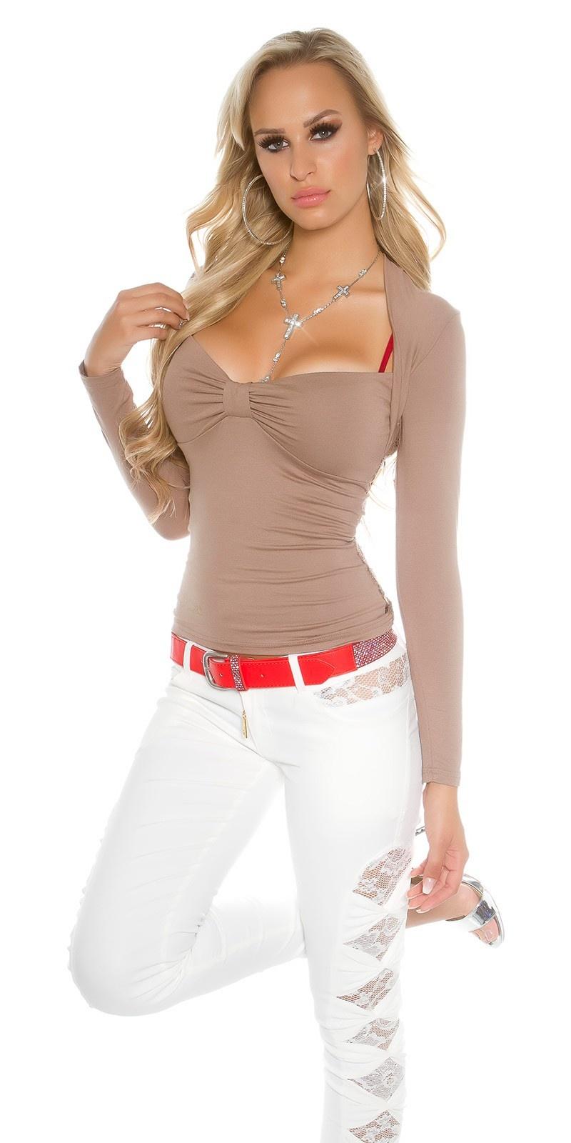 Sexy Koucla Bolero-longsleeve shirt with lace Cappuccino