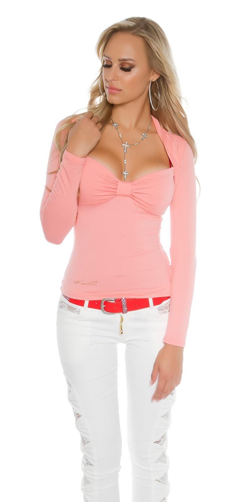 Sexy Koucla Bolero-longsleeve shirt with lace Salmon