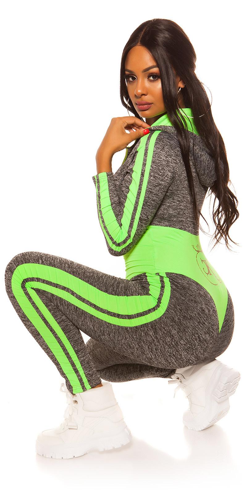 Sexy workout-sport jumpsuit langmouw neongroen