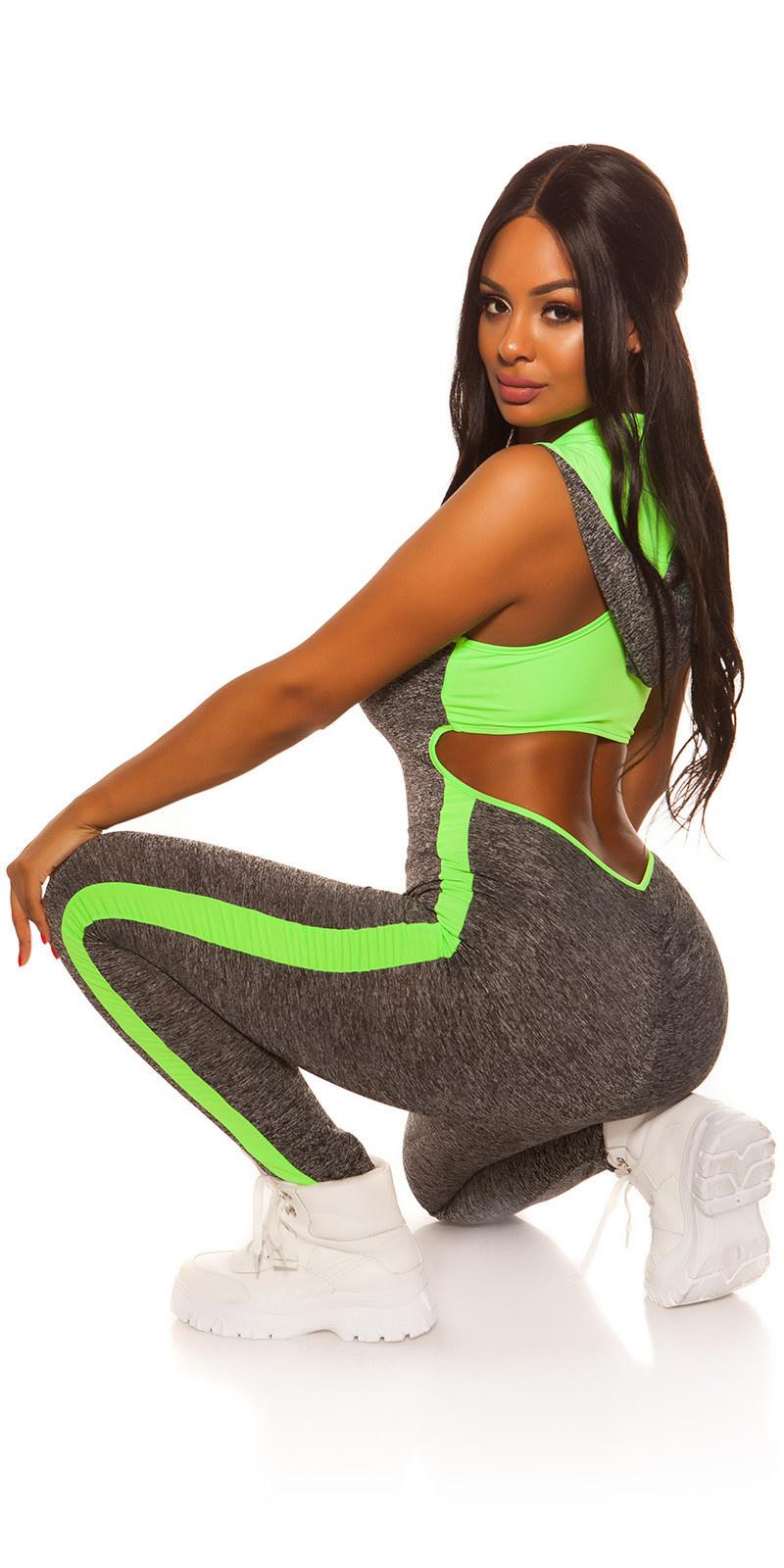 Sexy workout-sport capuchon jumpsuit met sexy rug neongroen