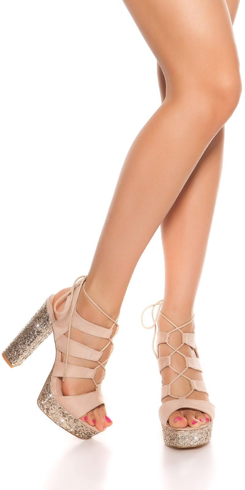 Sexy glitter blokhak sandalen-sandaletten beige