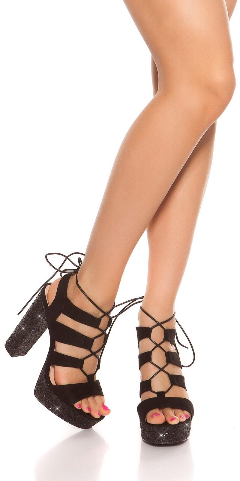Sexy glitter block heel sandal Black