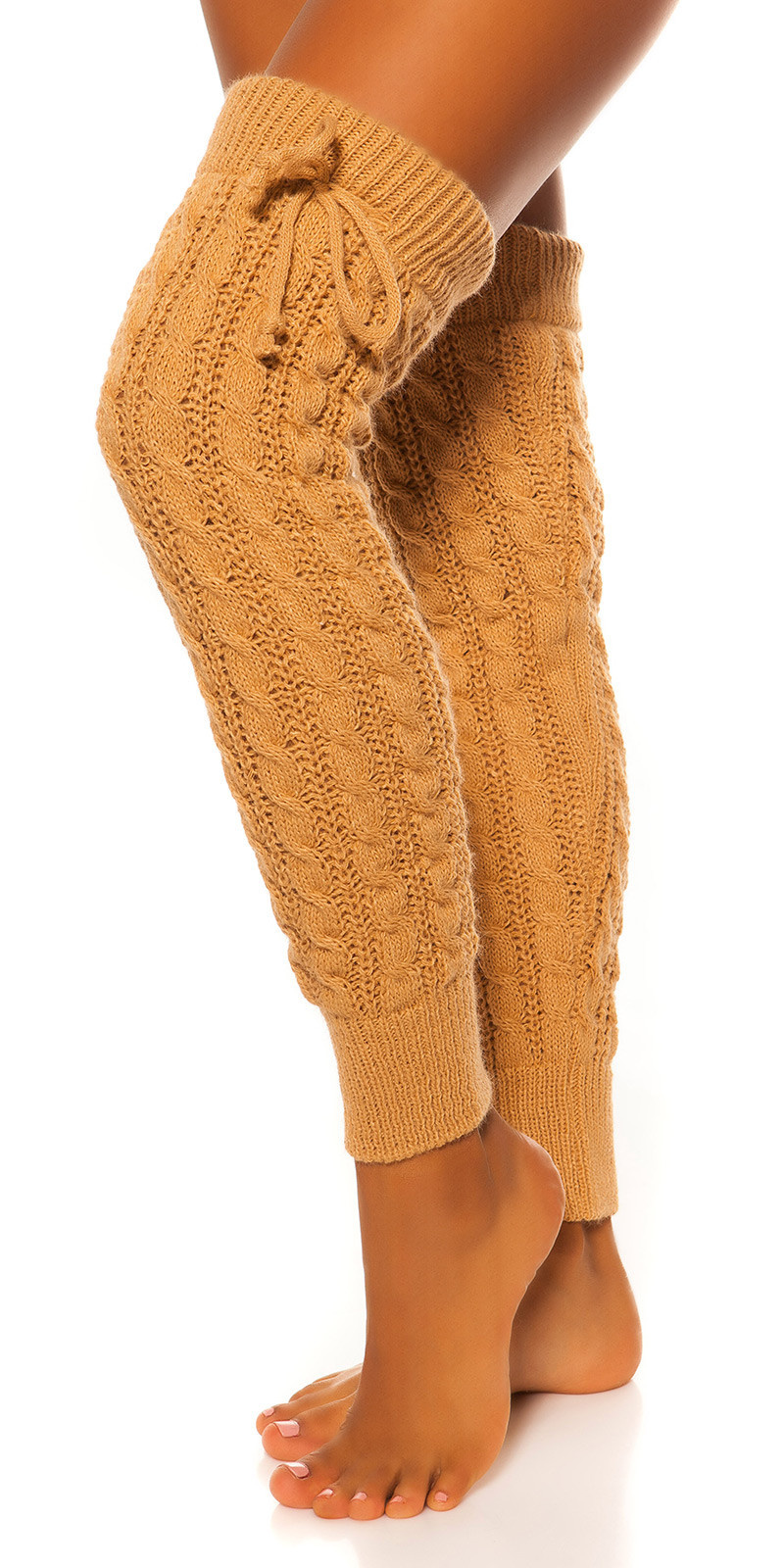 Sexy knit leg warmers with cable stitch pattern Beige