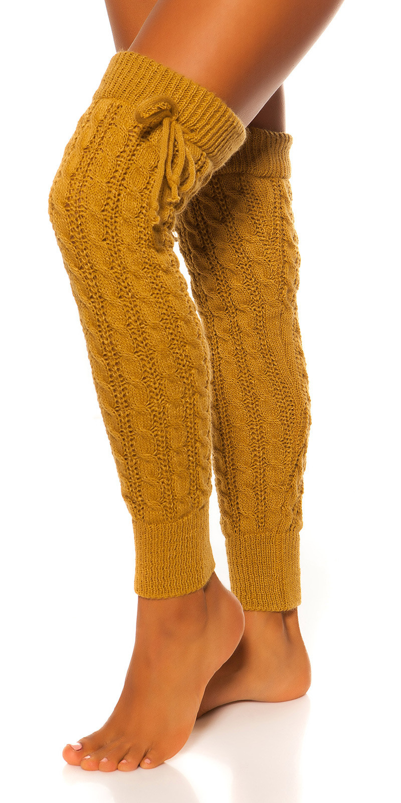 Sexy knit leg warmers with cable stitch pattern Mustard