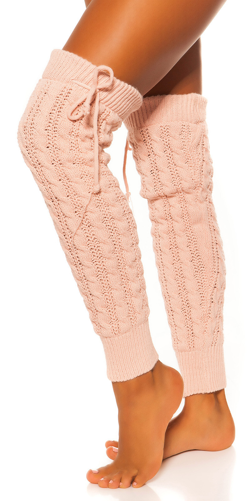 Sexy knit leg warmers with cable stitch pattern Pink