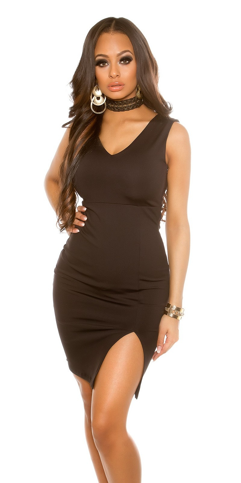 Sexy midi jurk met split zwart