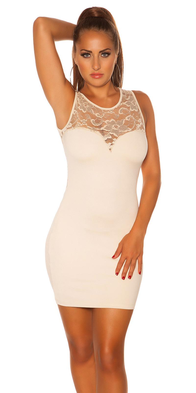 Sexy KouCla mini dress with lace Beige
