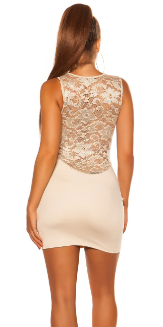 Sexy KouCla mini dress with lace Beige