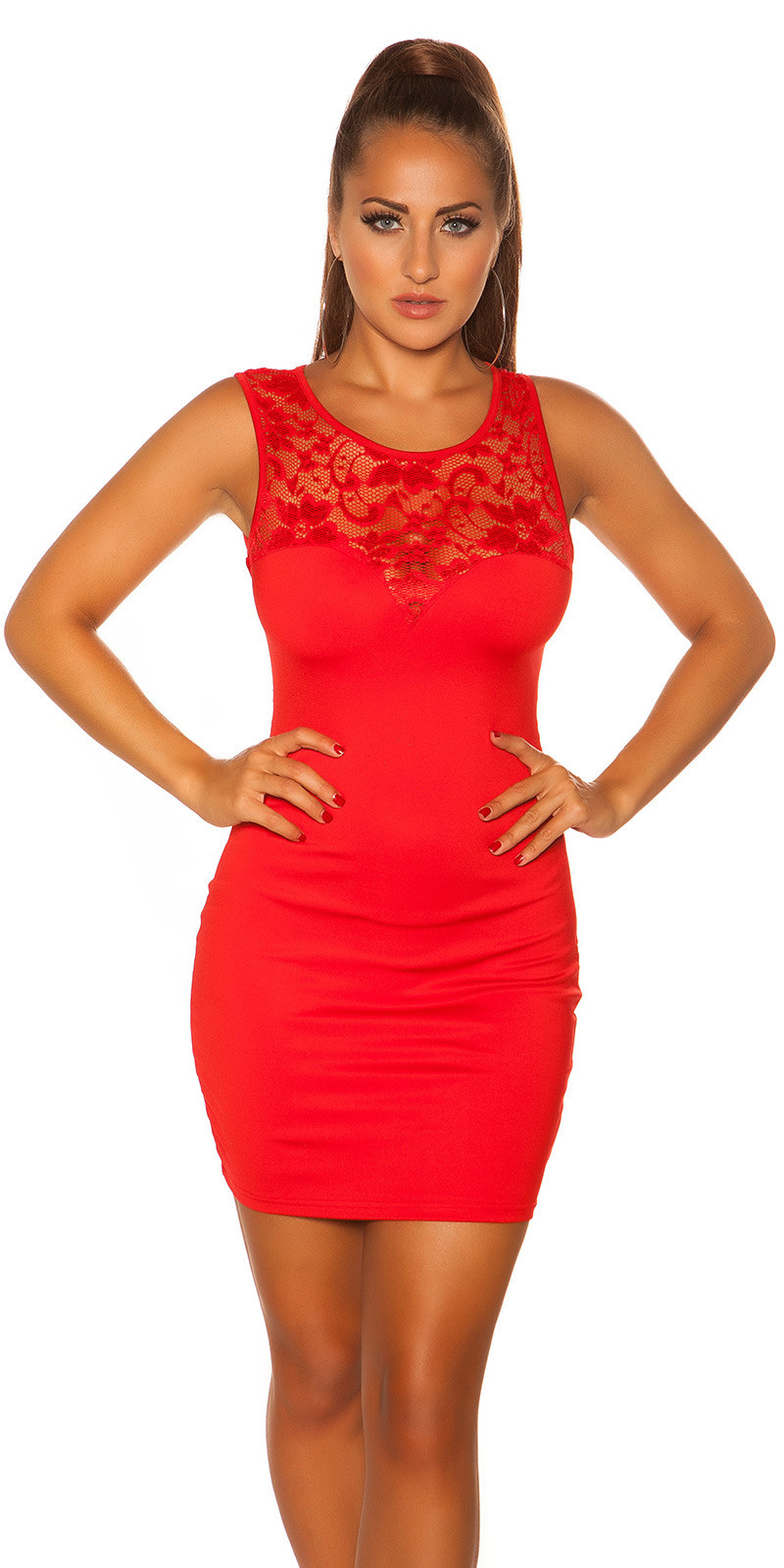 Sexy mini jurkje met kant rood