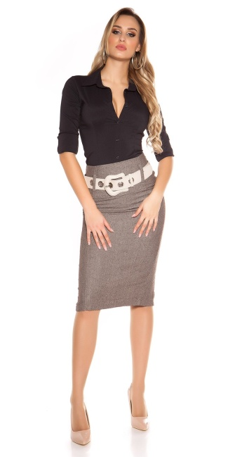 Sexy Pencilskirt with belt Brown
