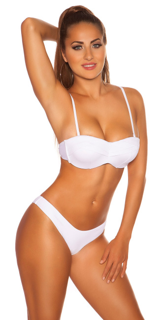 Sexy PushUp Bikini w. wire and removable straps White