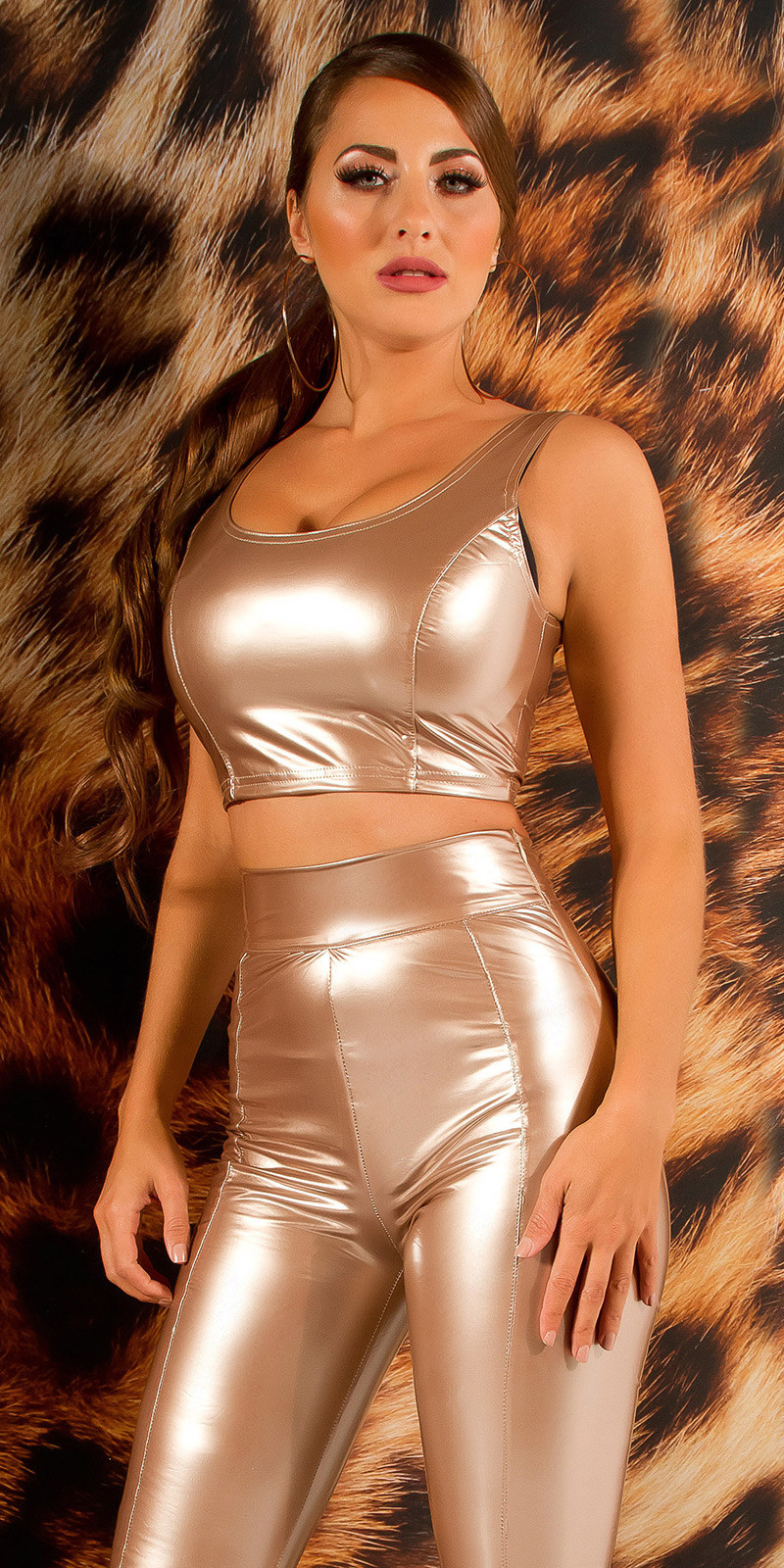 Sexy latex look crop top goud